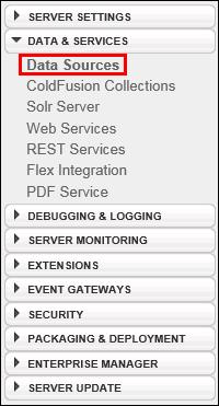 Data & Services Menu