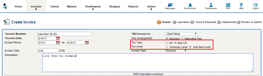 collaborati how do i create an invoice with vat taxes line item